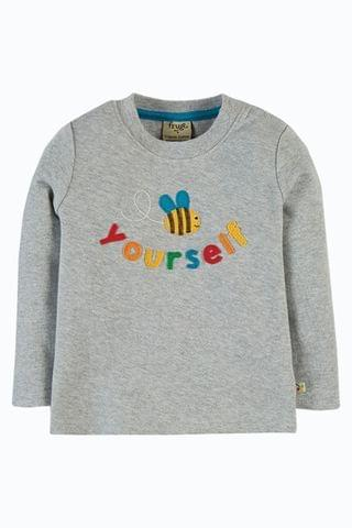 KIDS Frugi GOTS Organic T Shirt - Grey Marl Bee