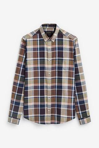 MEN Brown/Khaki Brushed Flannel Check Long Sleeve Shirt