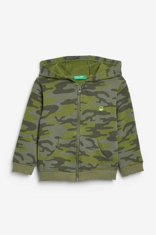 KIDS Benetton Green Camouflage Zip Through Hoodie