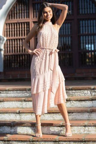WOMEN Lipsy VIP Halter Fit and Flare Prom Dress