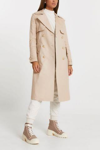 WOMEN River Island Beige Quilted Trench Coat