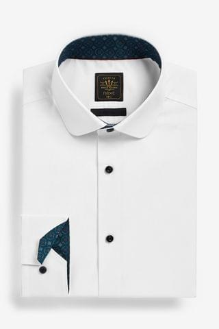 MEN White Easy Care Penny Collar Shirt With Contrast Trim