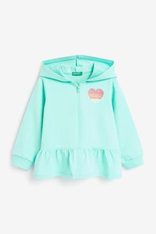 KIDS Benetton Mint Ruffle Zip Through Hoodie