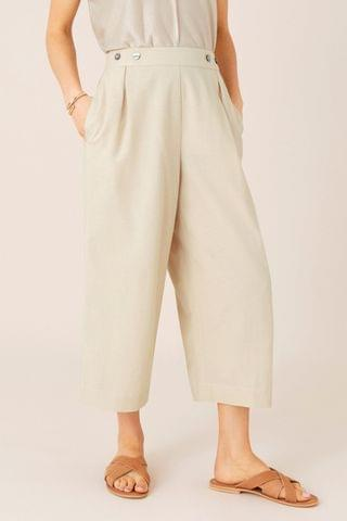 WOMEN Monsoon Natural Cropped Trousers In Linen Blend