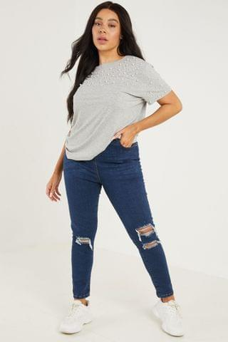 WOMEN Quiz Curve High Waist Ripped Skinny Jeans