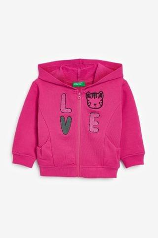 KIDS Benetton Pink Zip Through Slogan Hoodie