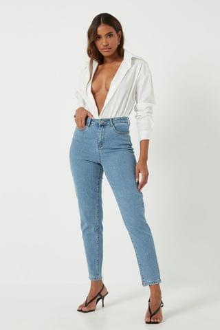 WOMEN Missguided High Waisted Comfort Stretch Mom Jean