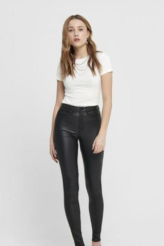 WOMEN Only High Waisted Faux Leather Coated Skinny Jeans