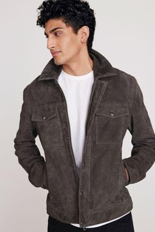 MEN Charcoal Signature Suede Collared Jacket