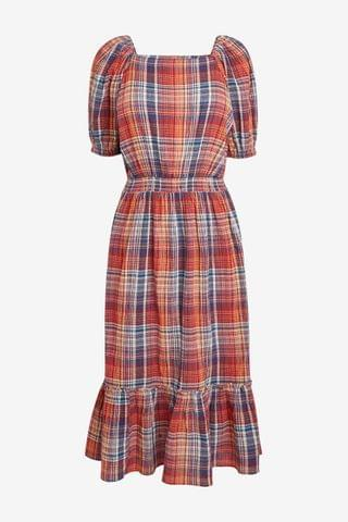 WOMEN Red Check Square Neck Midi Dress