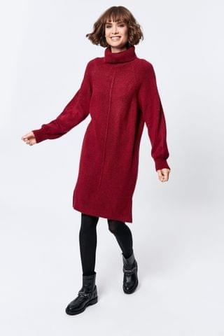 WOMEN M&Co Red Knitted Roll Neck Dress