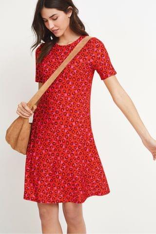 WOMEN Red Animal Easy T-Shirt Dress