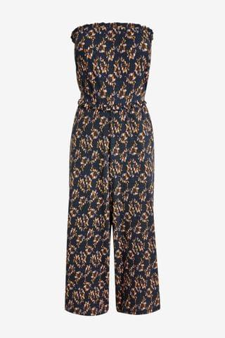 WOMEN Navy Ditsy Bandeau Pull On Jumpsuit