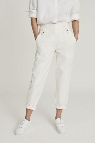 WOMEN Reiss Alana Cotton Tapered Cargo Trousers