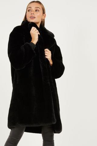 WOMEN Quiz Plus Faux Fur Longline Coat