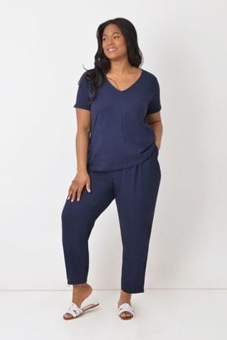 WOMEN Live Unlimited Curve Navy Zip Detail Tapered Leg Trousers