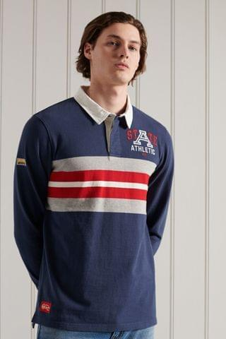 MEN Superdry Long Sleeve Jersey Rugby Shirt