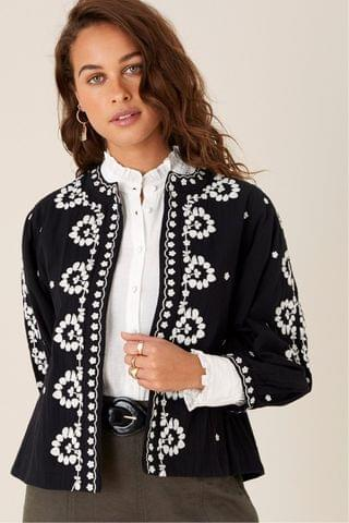 WOMEN Monsoon Black Floral Embroidered Organic Cotton Jacket