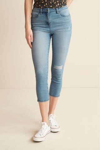 WOMEN Mid Blue Ripped Skinny Cropped Jeans