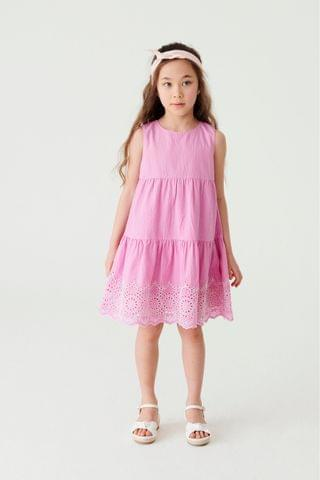 KIDS Lilac Broderie Tiered Dress (3-16yrs)