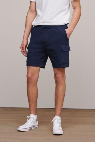 MEN Navy Slim Cotton Rich Jersey Cargo Shorts With Utility Pockets