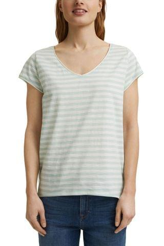 WOMEN Esprit Green Fashion Stripe T-Shirt