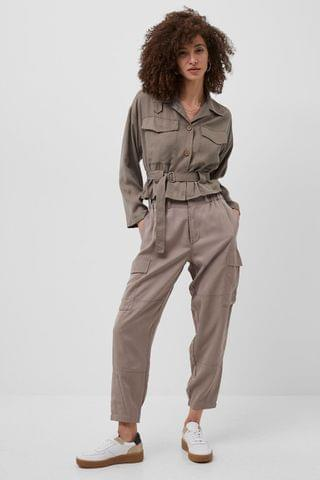 WOMEN French Connection Brown SIouchy Drape Cargo Trousers