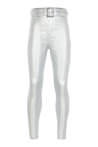 KIDS River Island Silver Belted Coated Kaia Jeans