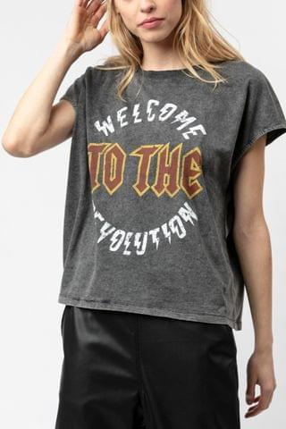WOMEN Religion Slogan Tee In Washed Black Sustainable Cotton