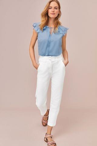 WOMEN White Elasticated Waist Tapered Jeans