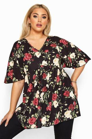 WOMEN Yours Curve Limited Collection Floral Kimono Sleeve Top