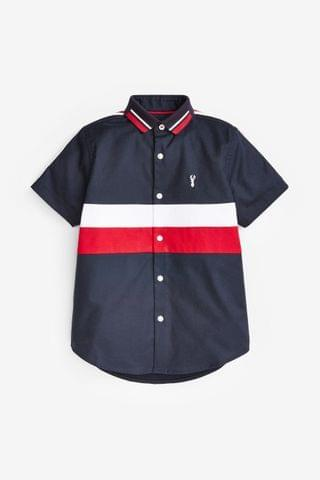 KIDS Navy/Red Short Sleeve Colourblock Shirt (3-16yrs)