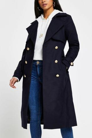 WOMEN River Island Navy Quilted Trench Coat