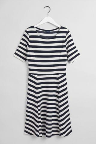 WOMEN GANT Evening Blue Navy Striped Fit And Flare Dress
