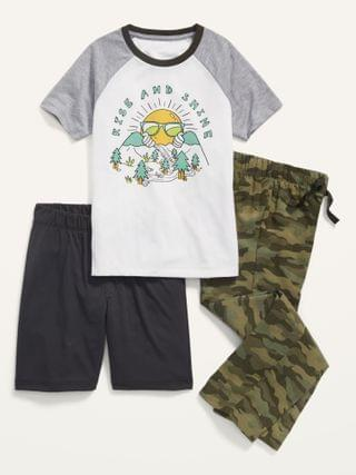 KIDS 3-Piece Graphic Pajama Tee, Pants and Shorts Set for Boys