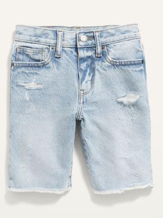 KIDS Gender-Neutral Non-Stretch Ripped Jean Shorts for Kids