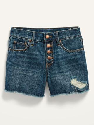 KIDS Extra High-Waisted Sky-Hi Dark-Wash Distressed Cut-Off Jean Shorts for Girls