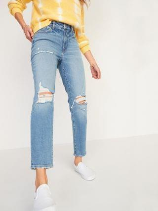 WOMEN High-Waisted O.G. Straight Light-Wash Ripped Jeans for Women