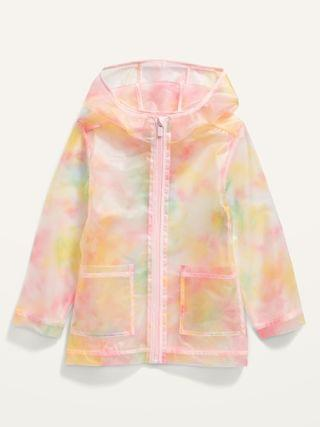 KIDS Water-Resistant Translucent Hooded Rain Jacket for Toddler Girls