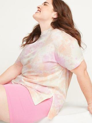 WOMEN Oversized Tie-Dyed Plus-Size Tunic Tee