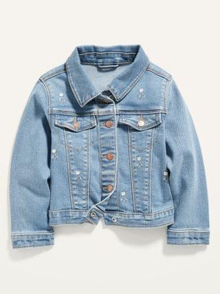 KIDS Embroidered-Daisy Stretch Jean Jacket for Toddler Girls