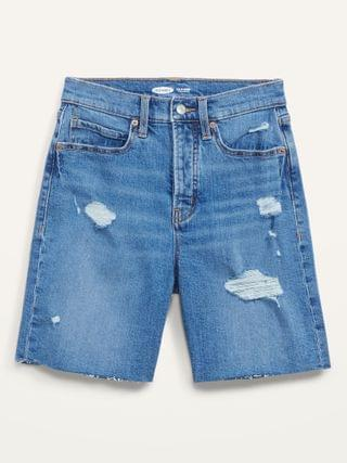 WOMEN Extra High-Waisted Sky Hi Button-Fly Ripped Jean Shorts for Women -- 7-inch inseam