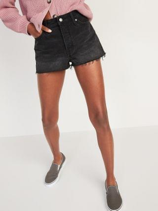 WOMEN High-Waisted Button-Fly O.G. Straight Black Cut-Off Jean Shorts -- 1.5-inch inseam