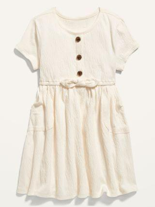 KIDS Fit & Flare Puckered-Jersey Dress for Toddler Girls