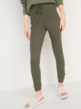 WOMEN High-Waisted Thermal-Knit Jogger Lounge Pants for Women