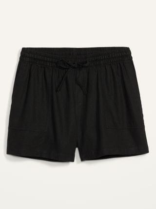 WOMEN High-Waisted Linen-Blend Tie-Front Plus-Size Utility Shorts -- 5-inch inseam