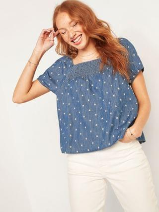 WOMEN Smocked-Yoke Floral-Embroidered Chambray Top for Women