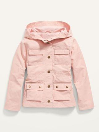 KIDS Water-Resistant Hooded Utility Jacket for Girls