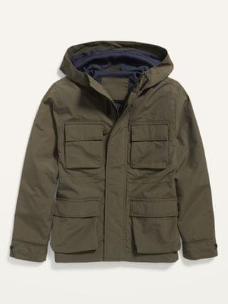 KIDS Water-Resistant Hooded Nylon Jacket for Boys