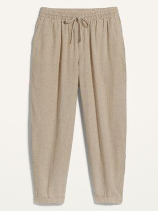 WOMEN High-Waisted Linen-Blend Straight Cropped Plus-Size Pants